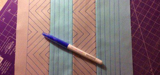 Blue pen on quilt
