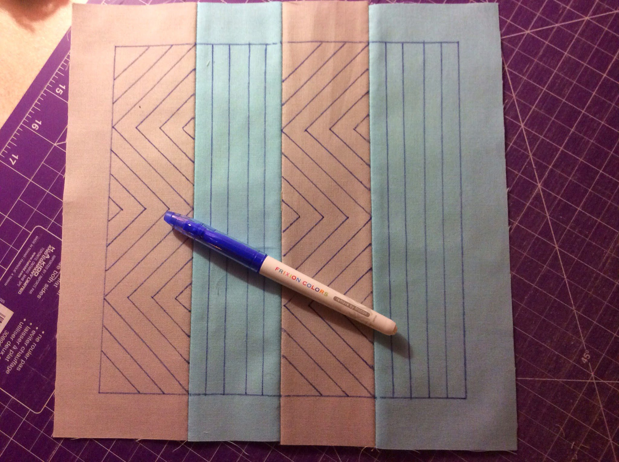 Blue pen on quilt
