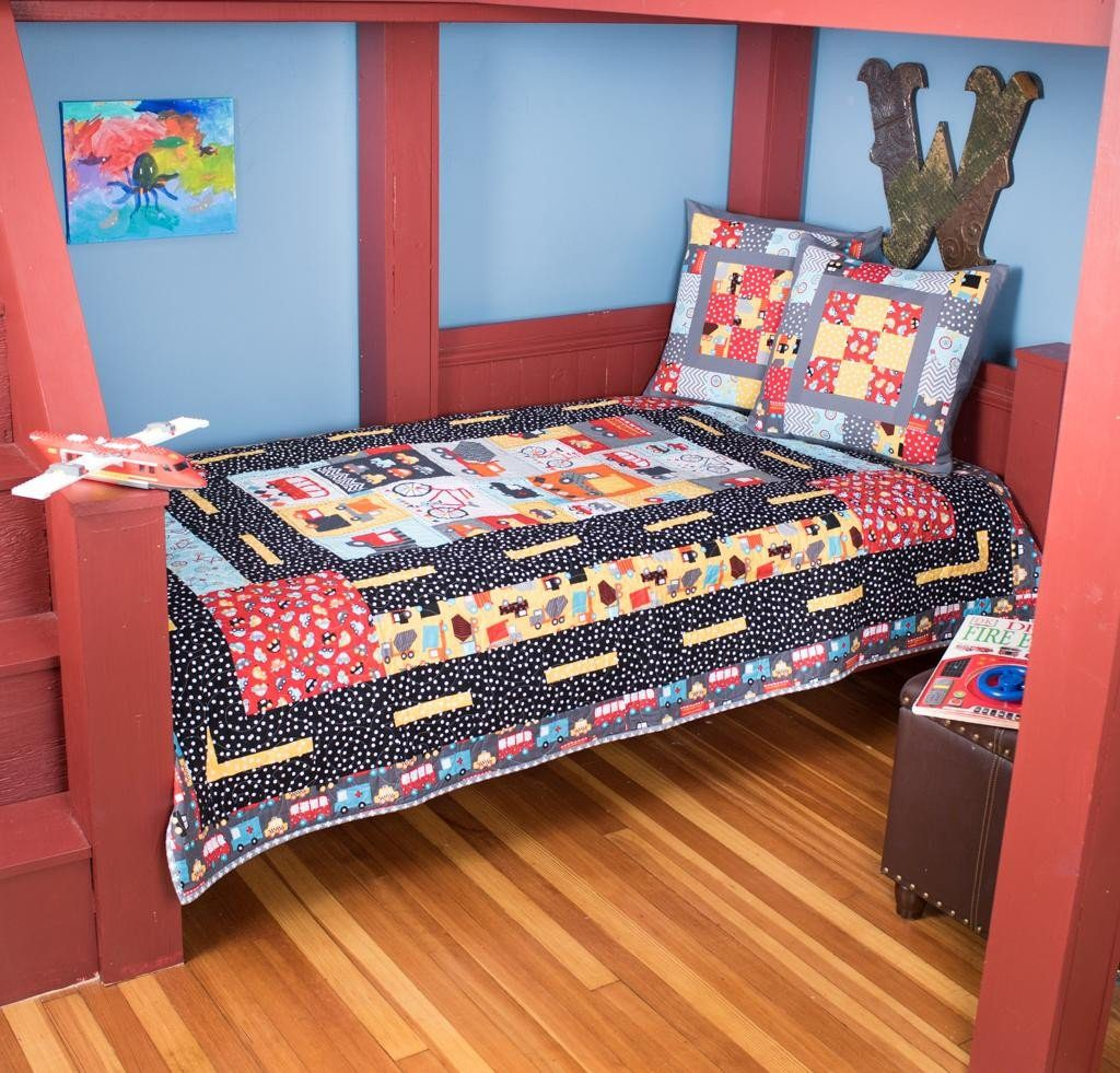 7 baby quilt kits that will delight any baby boy or girl quilters robert kaufman mode of transportation quilt kit solutioingenieria Gallery