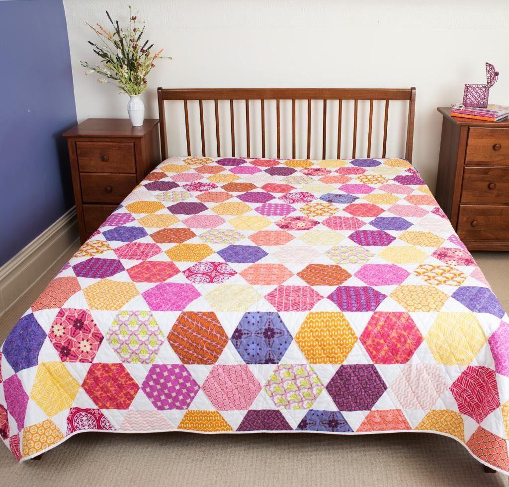 Free Spirit Hexagon bed quilt